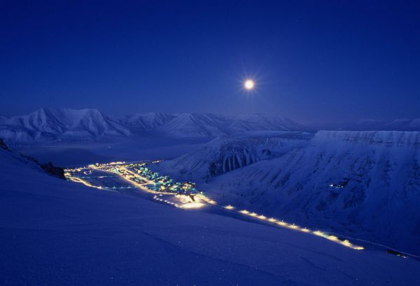 Longyearbyen at night